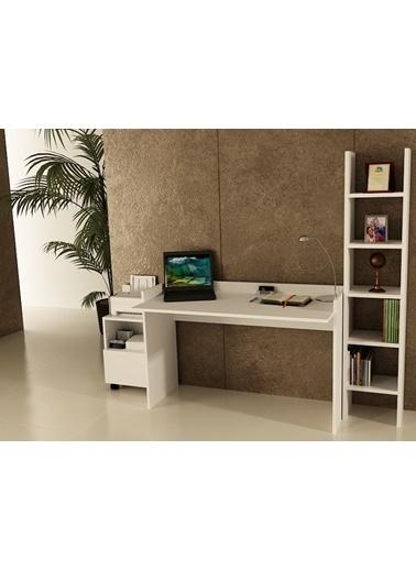 Sanal Mobilya Sirius Dolaplı Kitaplıklı Çalışma Masası 120-Gk-3A Beyaz